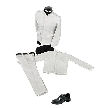 dd0953b7 Amazon.es: Sharplace Escala 1/6 Conjunto de Trajes Blancos y Zapatos de  Hombres para 12inchs Cuerpo de Figura de Acción: Juguetes y juegos