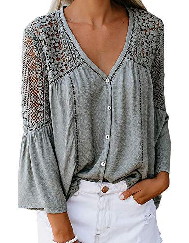 PAPOSON Women's V Neck 3/4 Bell Sleeve Crochet Floral Lace Shirt Loose Casual Blouse Top (Sage,S)