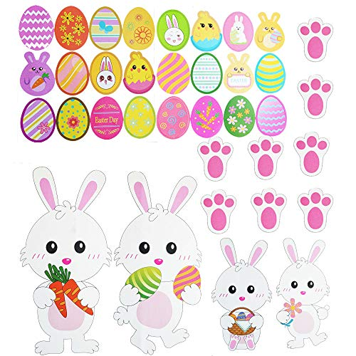 Easter Decorations-Easter Window Stickers -36 x Easter Eggs Bunny Stickers Easter Window Clings Bunny Decals Easter Wall Door Floor Window Decor Home Party Ornaments
