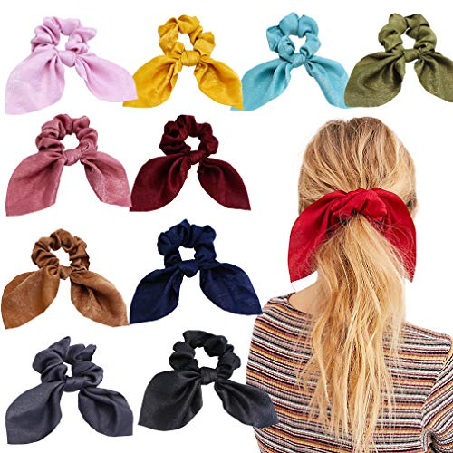 - 6pcs Hair Scrunchies Chiffon Elastic Hair Bands Bowknot Pearls Hair Ties Ponytail Holder Silk Scrunchy Women Rope Hair Accessories (10 PCS, Solid Colors)