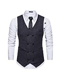 Cottory Men's Vintage Slim Fit Double-breasted Solid Suit Vest