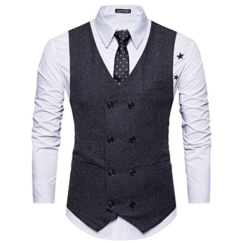 Cottory Men's Vintage Slim Fit Double-breasted Solid Suit Vest Black Large by Cottory