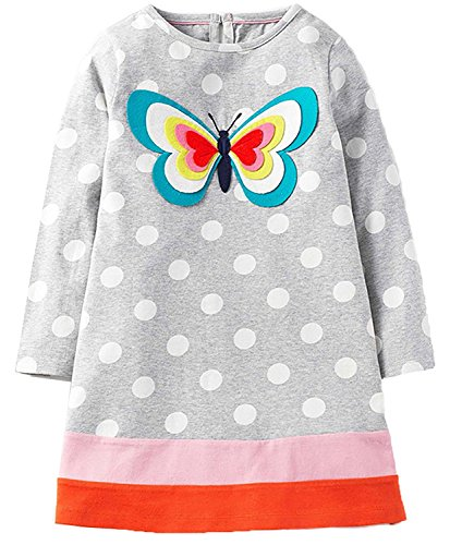 Girls Cotton Long Sleeve Casual Cartoon Appliques Striped Jersey Dresses (4T, Butterfly) (Animal Butterfly Applique)