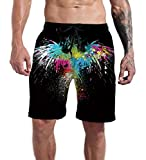 Swim Trunks Men Long Surf Funny Black Paint Independence Day Hawk USA Graphic Board Shorts Vacation Club Beach Swimwear Elastic Waist Summer Bathing Suits XXL