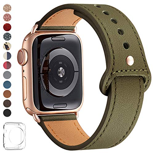 LOVLEOP Bands Compatible with Iwatch Band 40mm 38mm 44mm 42mm, Top Grain Leather Smart Watch Strap for iWatch Series 4 Series 3 Series 2 Series 1 ... (Army Green +Rose Gold Connector, 38mm 40mm)]()