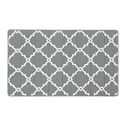 Madison Park Merritt Reversible Memory Foam Bath Mat, Classic Geometric Pattern Bathroom Rugs, 24x40, Grey (Merritt Bathroom Light)