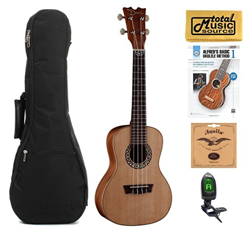 Dean Guitars Concert Spruce Ukulele, Satin Natural w/Padded Gigbag,Tuner,Strings,Book & PC,UKEDCSPR COMPBK