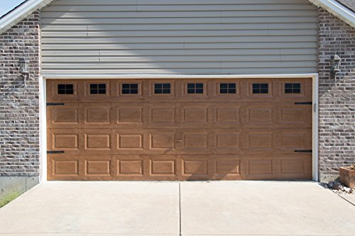 Decorative Magnetic Garage Door Window Panes & Hinges- Black (2 Car Garage) by Giani