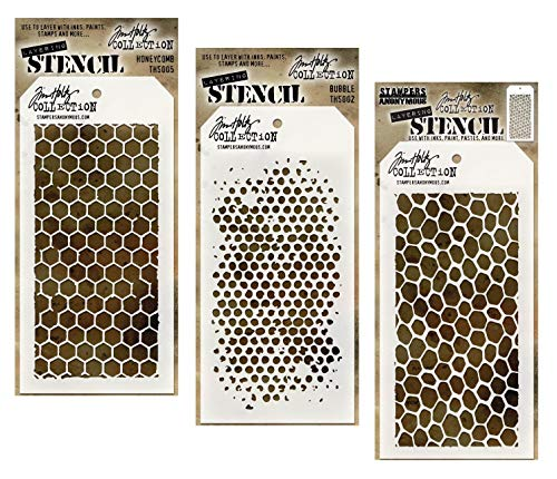 3 Tim Holtz Mixed Media Layered Stencils Set | Hexagon Honeycomb, Bee Hive, Bubbles Designs | 4.125 Inch x 8.5 Inch Templates for Arts, Card Making, Journaling, Scrapbooking | by Stampers Anonymous