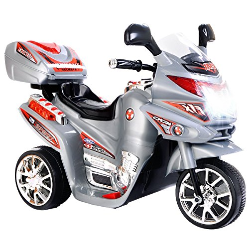 Costzon Ride On Motorcycle, 6V Battery Powered 3 Wheels Electric Bicycle, Ride On Vehicle with Music, Horn, Headlights (Gray)