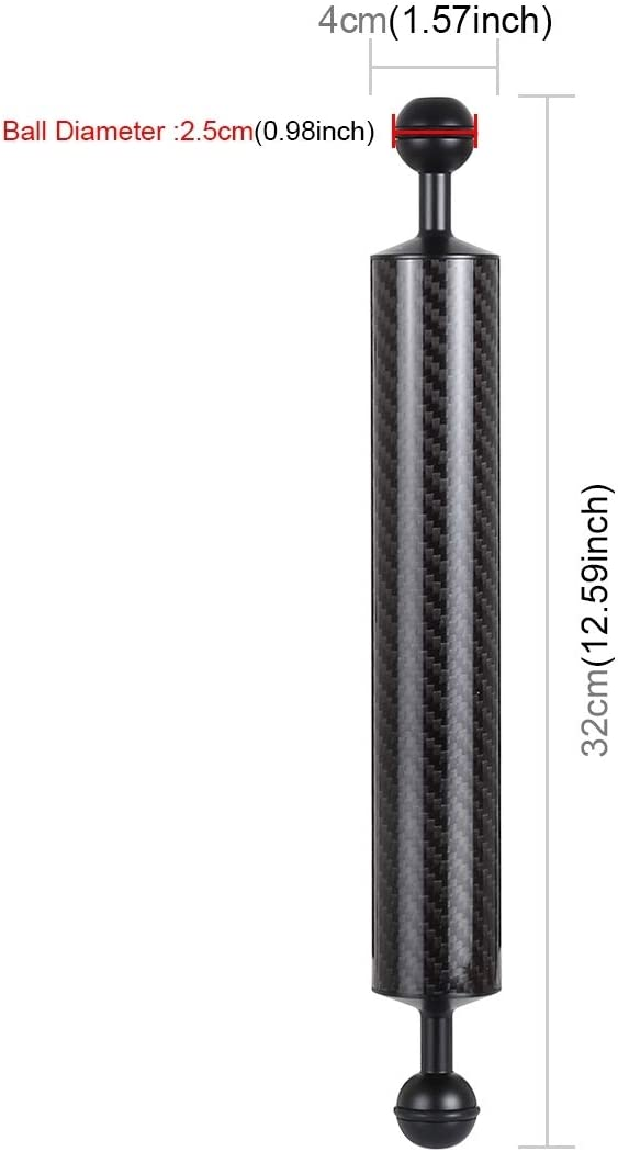 Buoyancy 200g Durable GuiPing 12.59 inch 32cm Length 40mm Diameter Dual Balls Carbon Fiber Floating Arm Ball Diameter 25mm
