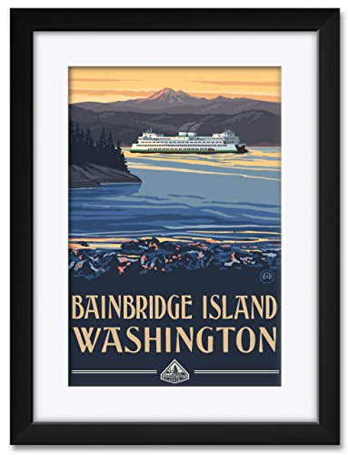 Northwest Art Mall Bainbridge Island Washington Ferry Framed & Matted Art Print by Paul A. Lanquist. Print Size: 12