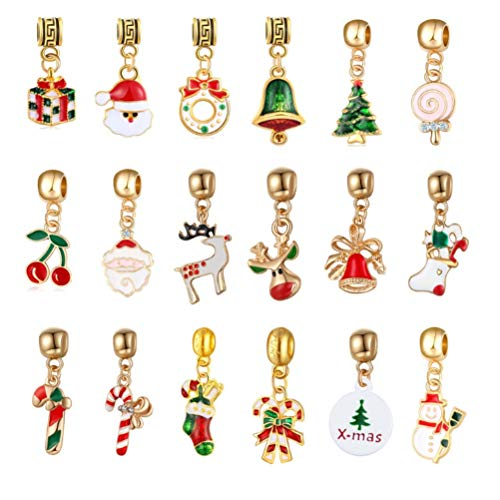 Christmas Charms Assorted Xmas Pendants 4.5 mm Hole Pendant for Holiday DIY Jewelry Making Xmas Decorative Accessories, 18 PCS, 1.46 x 0.59 inches (Style 3)