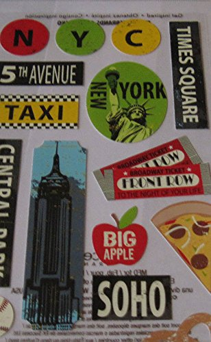 "Custom & Decorative {3"" X 1"" Inch} 16 Piece Pack of Mid-Size Stickers for Arts, Crafts & Scrapbooking w/ Travel NYC, New York, Central Park, Empire State, & Cab {Black, White, Yellow, Green, & Red}"