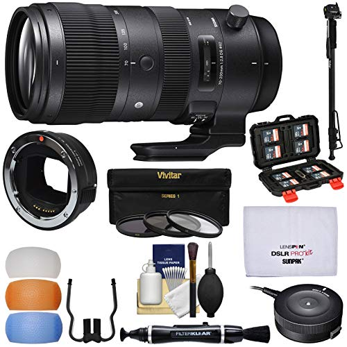 Sigma 70-200mm f/2.8 Sports DG OS HSM Zoom Lens (Canon EOS) with MC-11 Converter + USB Dock + 3 Filters + Monopod Kit for Sony Alpha E-Mount Cameras