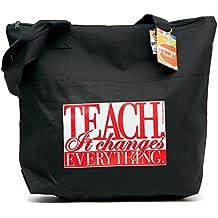 "Teacher Peach""It Changes Everything"" Teacher Tote Bag - Large Shoulder Bag with Zipper Closure - Best for Teacher Appreciation, Retirement, or New School Teacher Gifts for Women"