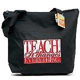 "Teacher Peach""It Changes Everything"" Teacher Tote Bag – Large Shoulder Bag with Zipper Closure – Best for Teacher Appreciation, Retirement, or New School Teacher Gifts for Women"