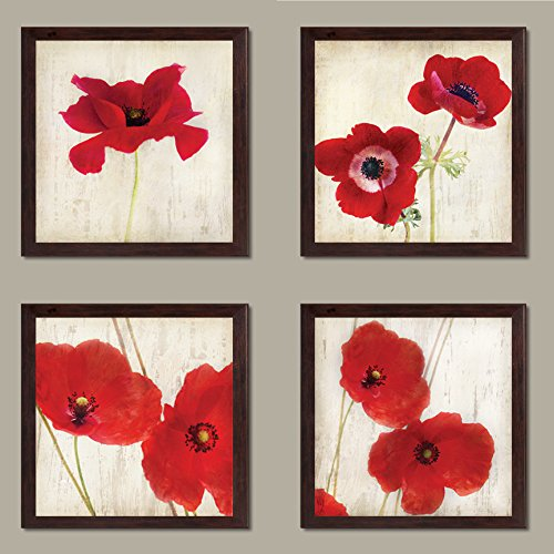 Beautiful Bright Red California Poppies; Four 12x12-Inch Framed Fine Art Prints; Ready to hang!