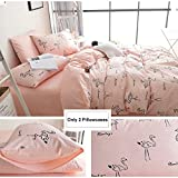 BuLuTu Cotton Flamingo Print Bed Pillowcases Set of 2 Queen Pink Animal Pillow Covers Decorative Standard For Girls Envelope Closure End-Premium,Ultra Soft,Hypoallergenic,Breathable