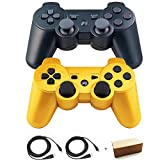 Kepisa Wireless Bluetooth Controllers for PS3 Double Shock (Black and Gold)