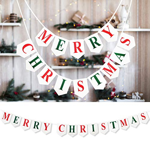 Merry Christmas Banner – Felt Fabric White Christmas Decorations Garland Gifts, Rustic Party Burlap Sign for Holiday Fireplace Mantel Tree Window Wall Hanging, Photo Props Home Ornament Bunting Décor