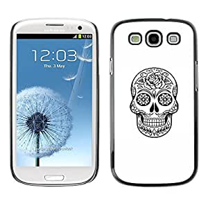 Eason Shop / Hard Slim Snap-On Case Cover Shell - Death Skull Black White Ink Metal - For Samsung Galaxy S3 I9300
