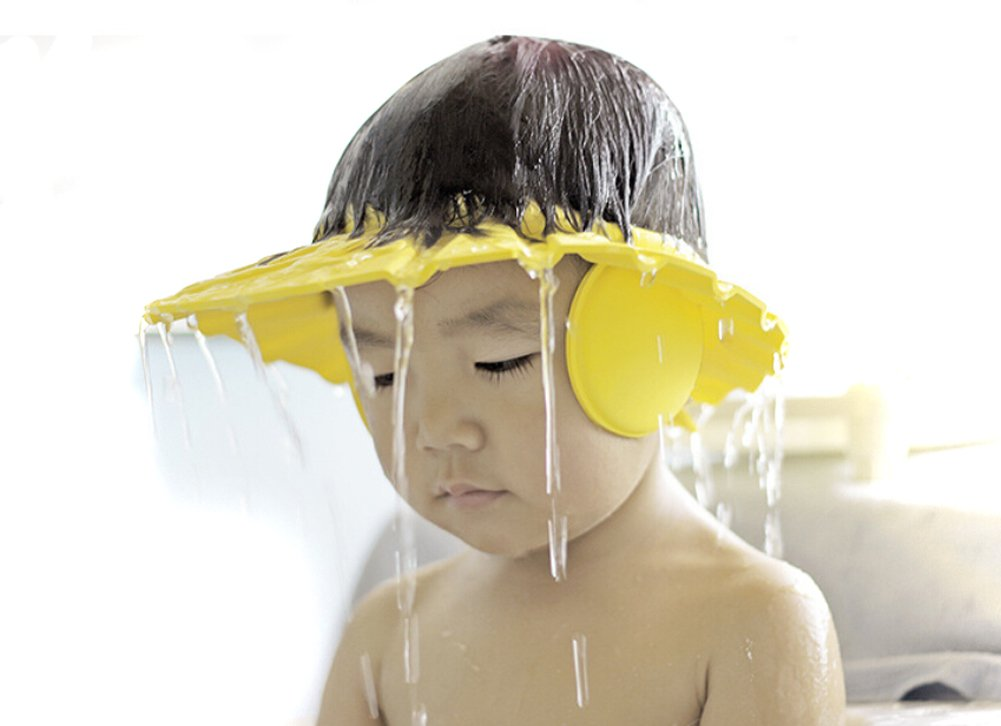 3pcs Soft Adjustable Shampoo Bath Bathing Shower Cap Hat Wash Hair Shield Hat for Baby Kids Children Hair Cutting protect Color Random Elandy
