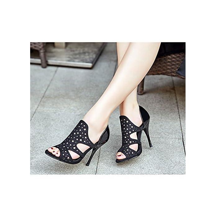 - 245mm Open Hollowout 39 colore Dimensioni Neri Shoes us7 Alto Con Sandali Single Lady Tacco Sexy Height Sera uk6 Da Toe Female 6cm