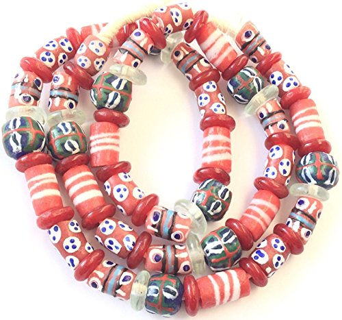 Variety Handmade Red Tone African recycled Glass Ghana African Trade Beads - Strand of Eco-Friendly Fair Trade Beads from - African Trade Beads