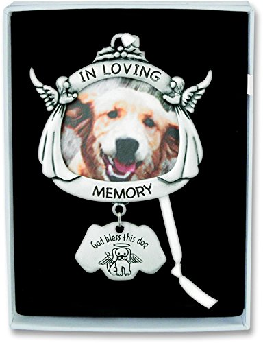 Pewter Angel Photo Frame Ornaments (Cathedral Art CO737 In Loving Memory Angel Dog Frame Plaque with Hanger, 4-Inch High)