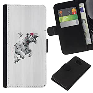 KLONGSHOP // Tirón de la caja Cartera de cuero con ranuras para tarjetas - Tiger Rose Paloma - Samsung ALPHA G850 //