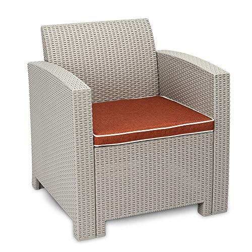 - AK Energy Gray White Color Weather Outdoor Patio Single Sofa Armchair Garden Furniture Burgandy Cushion Seat