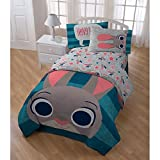 5 Piece Blue Grey Kids Disney Zootopia The Movie Theme Comforter Twin Set, Fun Multi Stripe Reversible Bedding, Cute All Over Disneys Star Characters Judy Hopps Bunny Nick Wilde Finnick Fox