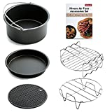 Cheap Hiware Air Fryer Accessories Fits All 3.2QT – 5.3QT – 5.8QT – Non-stick Barrel / Pan + Stainless Steel Holder / Double-layer Rack with Skewers+ Silicone Mat + Air Fryer Cookbook