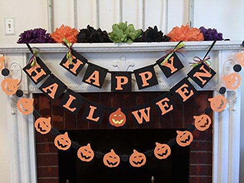 Halloween decorations, Happy Halloween Banner, Halloween Mantle Decorations, Halloween Party Decorations, Halloween Garland -