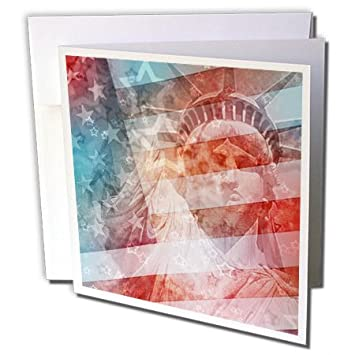 3drose patriotic lady liberty digital collage greeting cards 6 x 6 inches set - Digital Greeting Cards