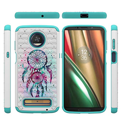 Moto Z3 Play Case, Moto Z3 Hybrid Rugged Heavy Duty Shock AbsorbtionDropResistant Full Body Dual Layers Shockproof TPU Bumper PC Shell Bling Shiny Glitter Diamonds Cute Paint Cover for Moto Z3 Play
