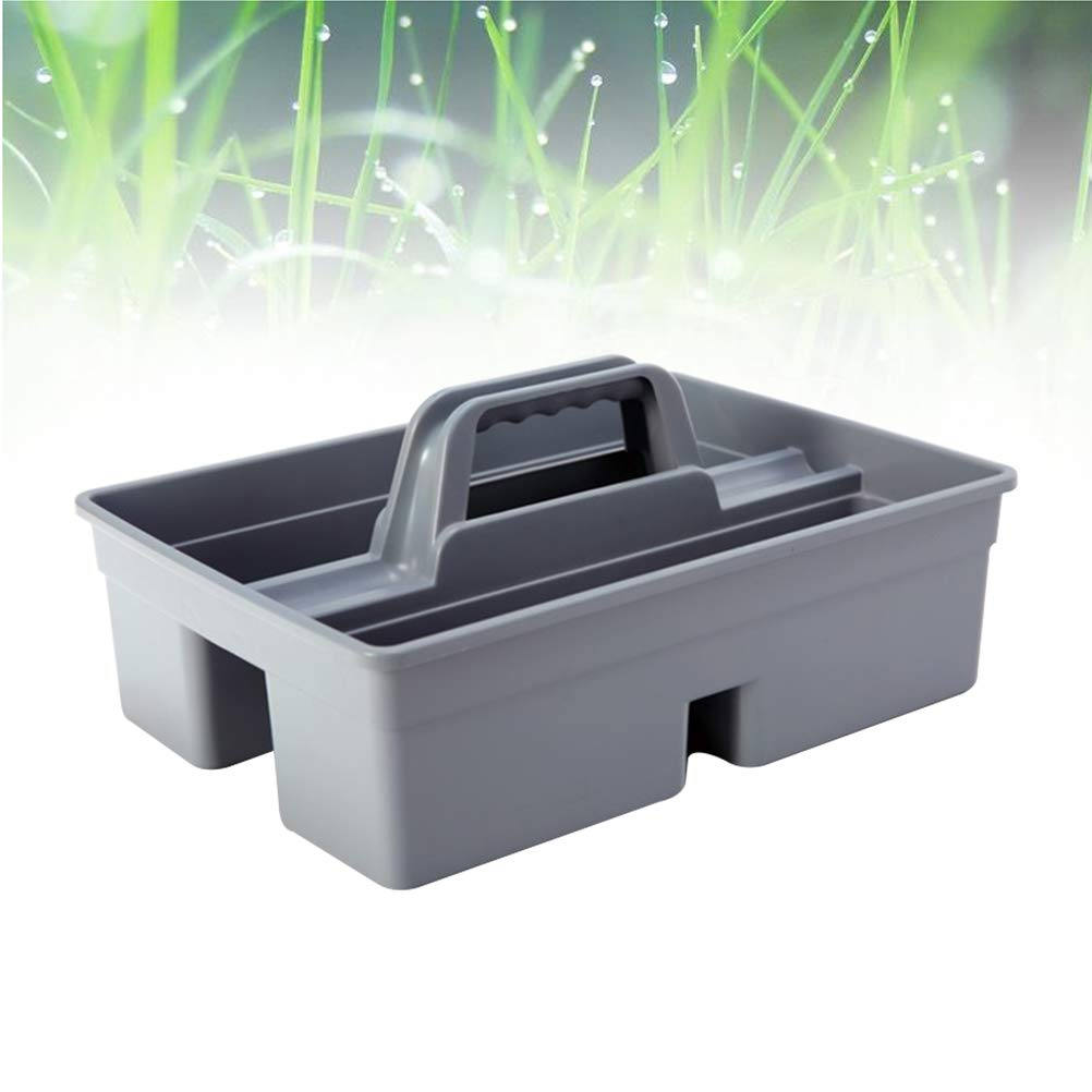 Grey LIOOBO Utility Tool Tray Caddy Tools Storage Basket Dual Sides car Item Cleaning Tool Storage Box with Handle