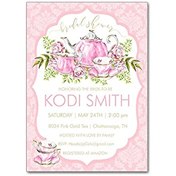 7a11c26fa77 Set of 12 Personalized Bridal Wedding Shower Invitations and Envelopes with Watercolor  Tea Party Teapot in Pink and Gold NVB8034