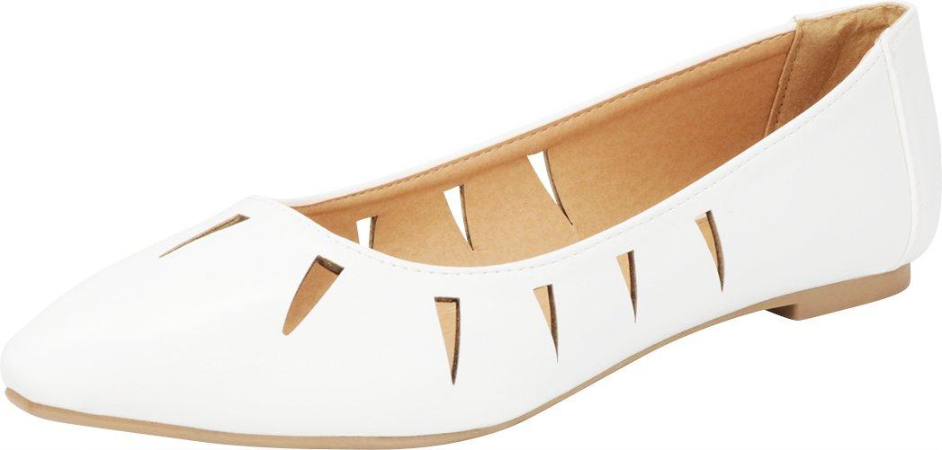 Cambridge Select Women's Closed Pointed Toe Slip-On Geometric Cutout Ballet Flat B07D9V85B7 6.5 B(M) US|White Pu