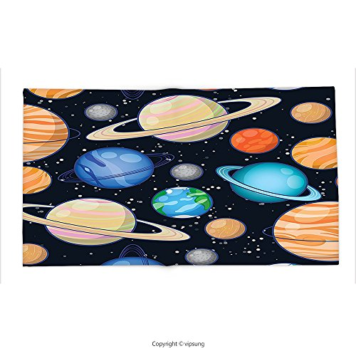 Custom printed Throw Blanket with Galaxy Cute Galaxy Space Art Solar System with Planets Mars Mercury Uranus Jupiter Venus Kids Print Decor Multi Super soft and Cozy Fleece Blanket by vipsung