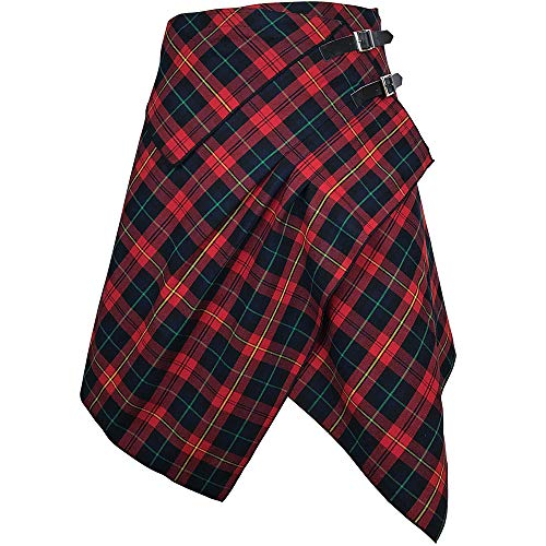 Clothing Celtic Medieval - Tartan Skirt - 3 Pocket Skirt in 2 Traditional Scottish Tartan Colors (M, Red Rose/Medieval Blue)