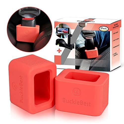 Car Seat Belt Buckle Holder (2-Pack) for Kids Toddlers Seniors Elderly - for Instant Seat Belt Buckle Up + Car Headrest Hook as Gift