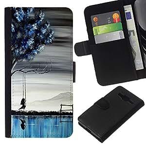 All Phone Most Case / Oferta Especial Cáscara Funda de cuero Monedero Cubierta de proteccion Caso / Wallet Case for Samsung Galaxy Core Prime // Lake Girl Art Painting Tree Deep