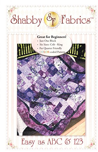 Easy Block Pattern (Easy as ABC & 123 Quilt Pattern, Fat Quarter Friendly, 6 Size Options from Crib to King)