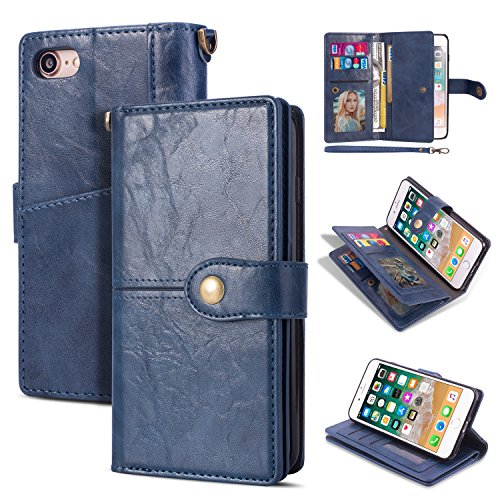 Black Friday Deals Cyber Monday Deals-iPhone 8 Case, iPhone 7 Wallet Case,Flip Leather Credit Card Holder Cash Pockets Wristlet Protective Case for iPhone 8/7 4.7inch (Blue)]()
