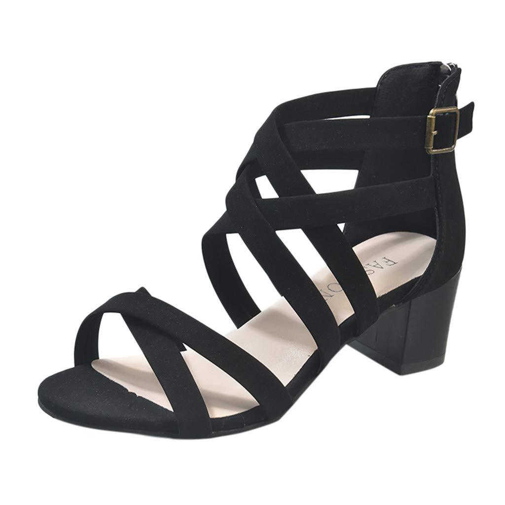 Garish  Women's Confotable Roman Sandals,Open Toe Beach Flat Heel Sandals,Sandals of Gladiator Style Black