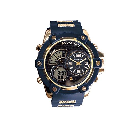 Louis Blues Heart Watch (Daniel Steiger The Bolt Regal Blue Hybrid Men's Watch - Analogue & Digital Dials - Durable Silicone Strap - Water Resistant)