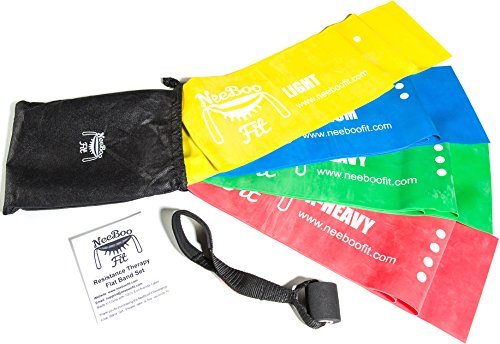 NeeBooFit Resistance Physical Therapy Band Set – Best Flat Exercise/Fitness Bands – 6 Feet Long, 6 Inches Wide – Door Anchor and Carry Bag Included
