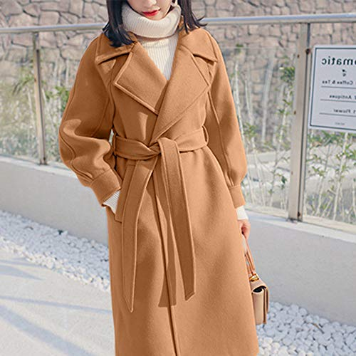Beige Outwear Trench Largo Parka Jacket De Zodof b Mujer Solapa Abrigo Lana Para Invierno,abrigo Invierno OSfAw71q